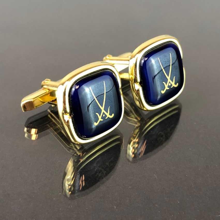 Designer cufflinks: porcelain plaque in cobalt blue. - photo 1