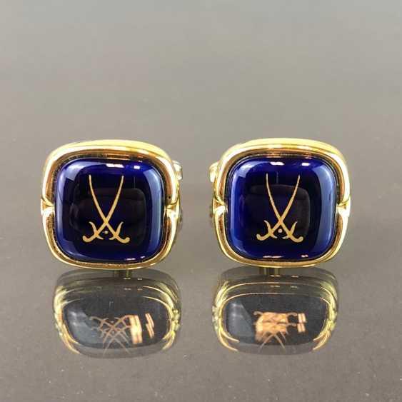 Designer cufflinks: porcelain plaque in cobalt blue. - photo 3