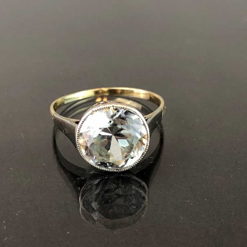 See worked more desirable to ladies ring: sterling silver ring with large Topaz solitaire ring. Yellow Gold / White Gold 585. Eye-catcher! - photo 1