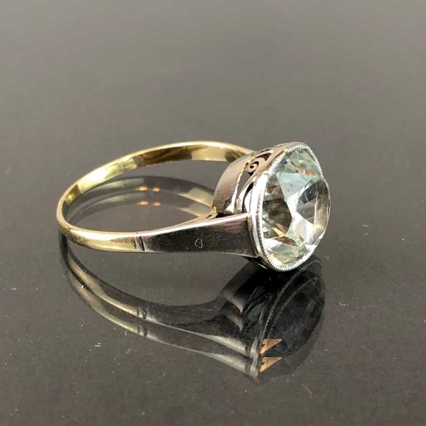 See worked more desirable to ladies ring: sterling silver ring with large Topaz solitaire ring. Yellow Gold / White Gold 585. Eye-catcher! - photo 2