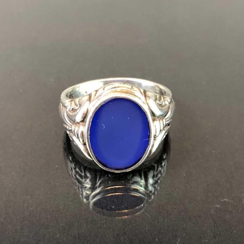 Mr. ring: silver, blue agate, art Nouveau. - photo 1
