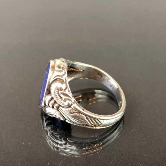 Mr. ring: silver, blue agate, art Nouveau. - photo 3