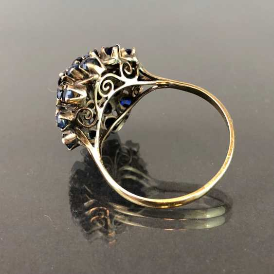 Dear ladies ring: flower ring with Safiren see occupied. Yellow gold. Eye-catcher! - photo 3