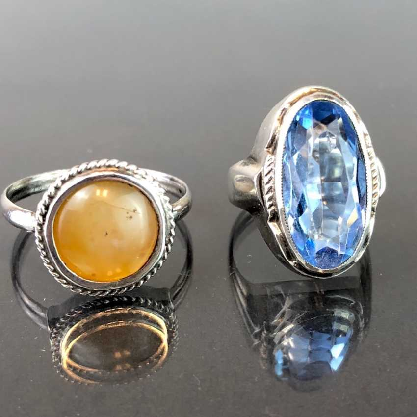 Two ladies rings: silver with Topaz and silver with agate. Art Nouveau 1920. - photo 1