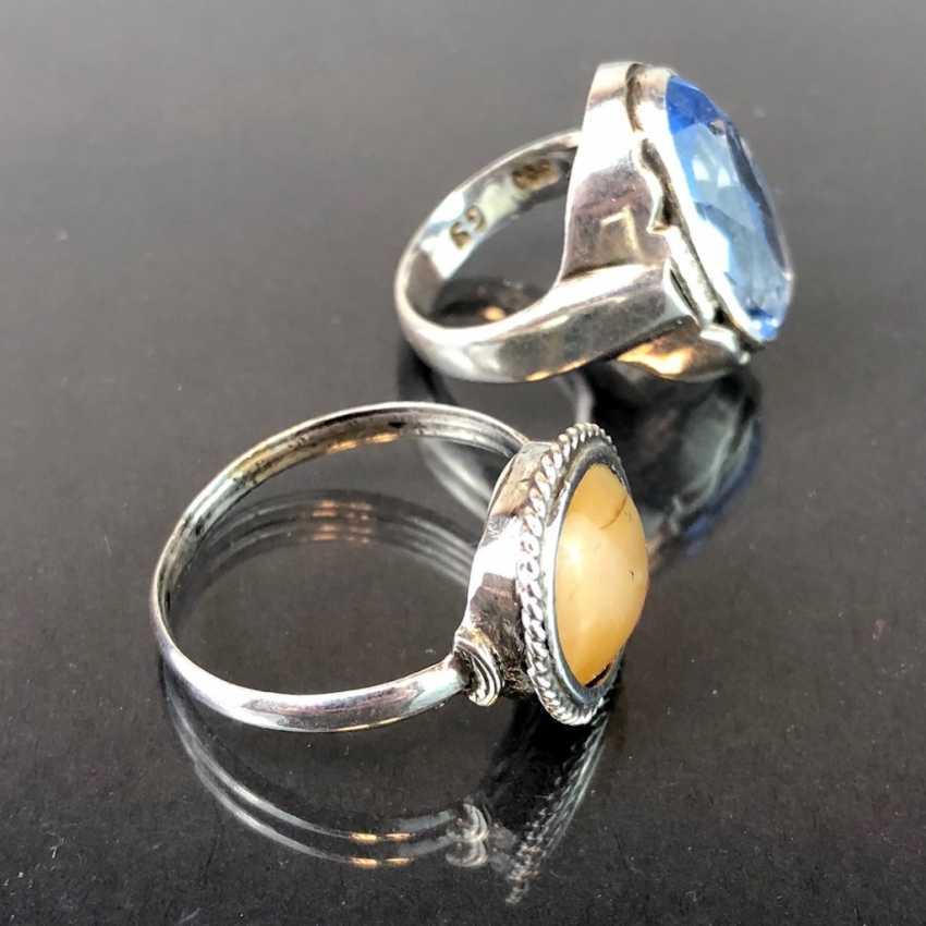 Две дамы кольца: серебряные с топазом и серебряные с агатом. Модерн 1920 году. - фото 2