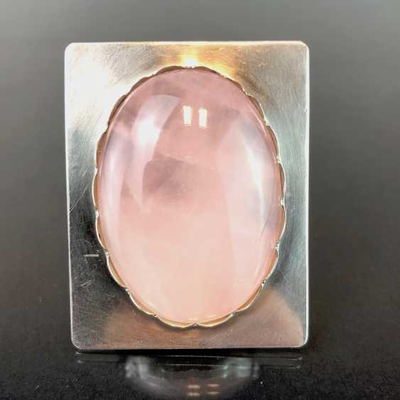 Designer pendant: sterling silver with a large rose quartz. - photo 2