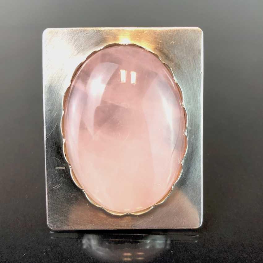 Дизайнерские подвески: стерлинговое серебро с большим розового кварца. - фото 2