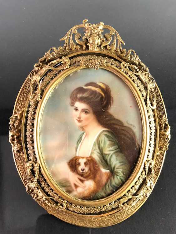 Great Ivory Miniature. Gold-Plated Frame. 19. Century - photo 1