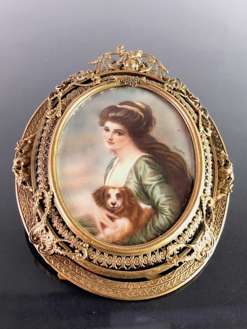 Great Ivory Miniature. Gold-Plated Frame. 19. Century - photo 2