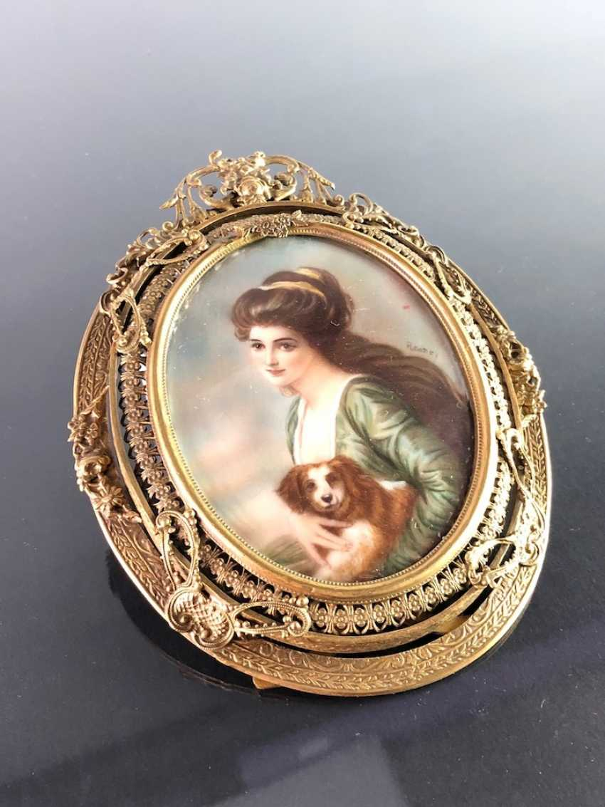 Great Ivory Miniature. Gold-Plated Frame. 19. Century - photo 3