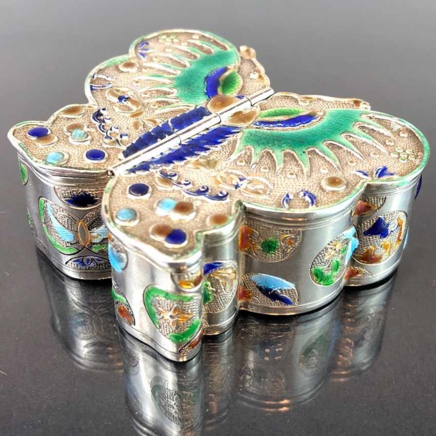 Zierdose: silver with enamel. Butterfly Shape. Very nice. - photo 1