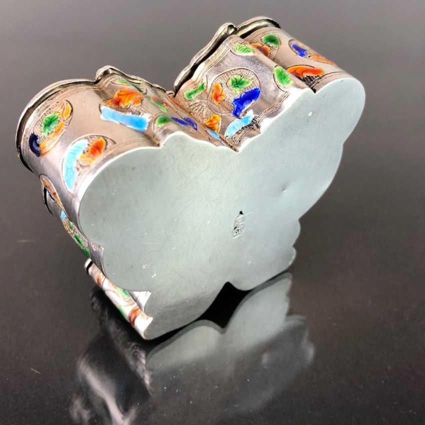 Zierdose: silver with enamel. Butterfly Shape. Very nice. - photo 2