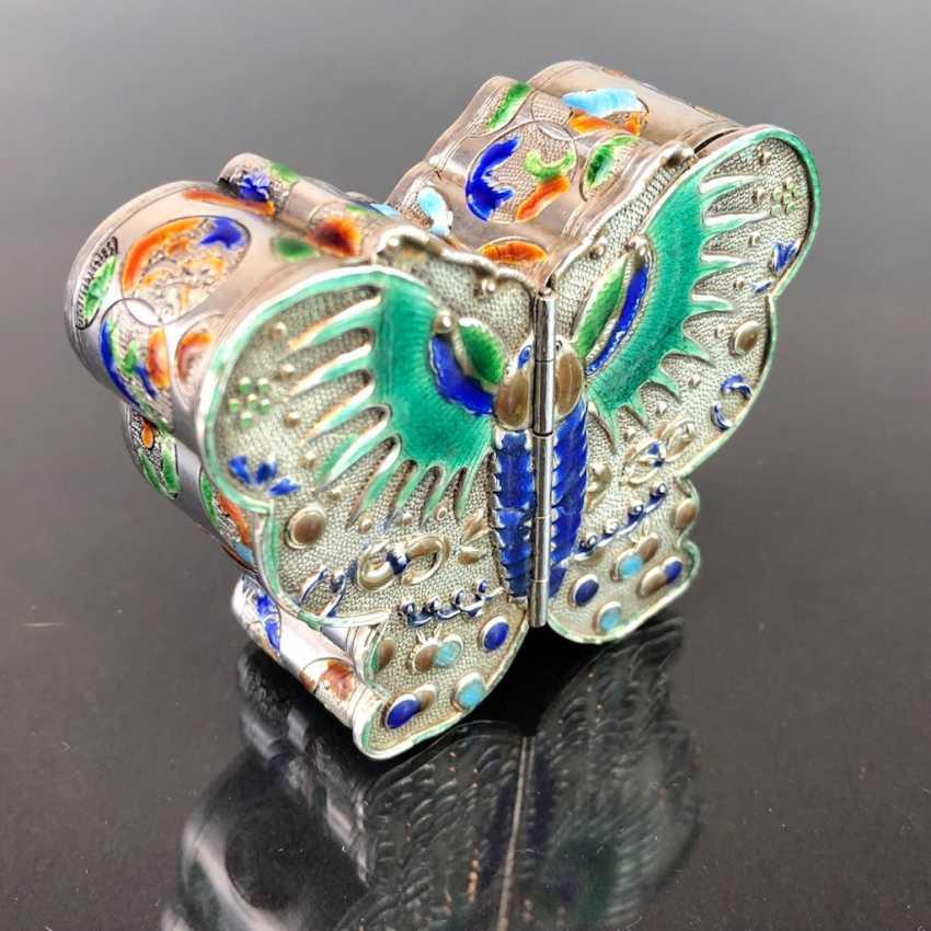 Zierdose: silver with enamel. Butterfly Shape. Very nice. - photo 3