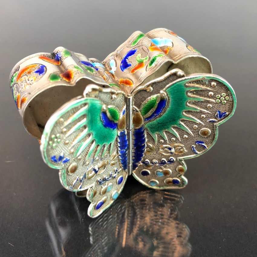 Zierdose: silver with enamel. Butterfly Shape. Very nice. - photo 4