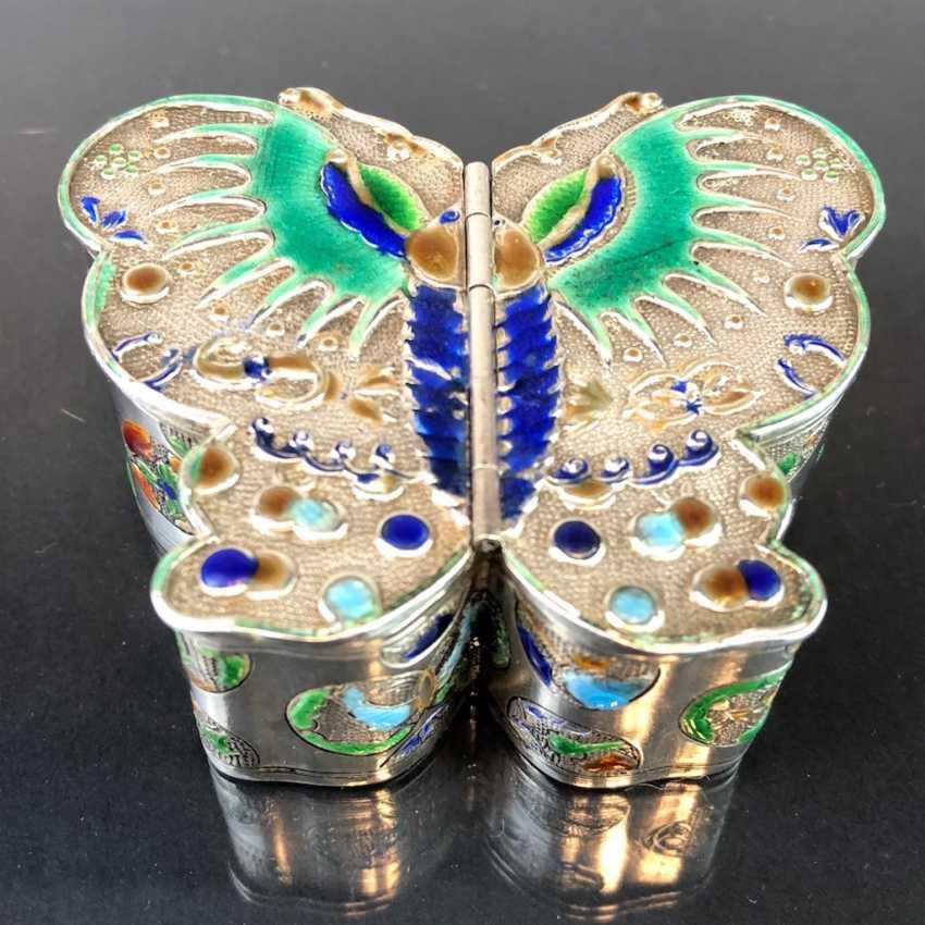 Zierdose: silver with enamel. Butterfly Shape. Very nice. - photo 5