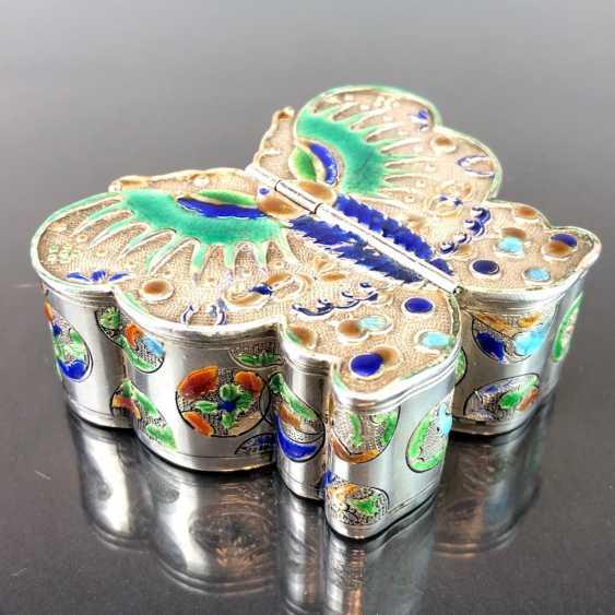 Zierdose: silver with enamel. Butterfly Shape. Very nice. - photo 6