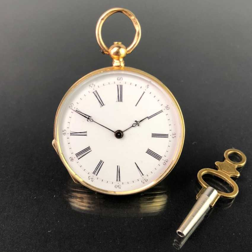 Key pocket watch / Frackuhr / cylinder pocket watch Yellow Gold 750, company Adolphe, Geneva / Switzerland, around 1890. - photo 3