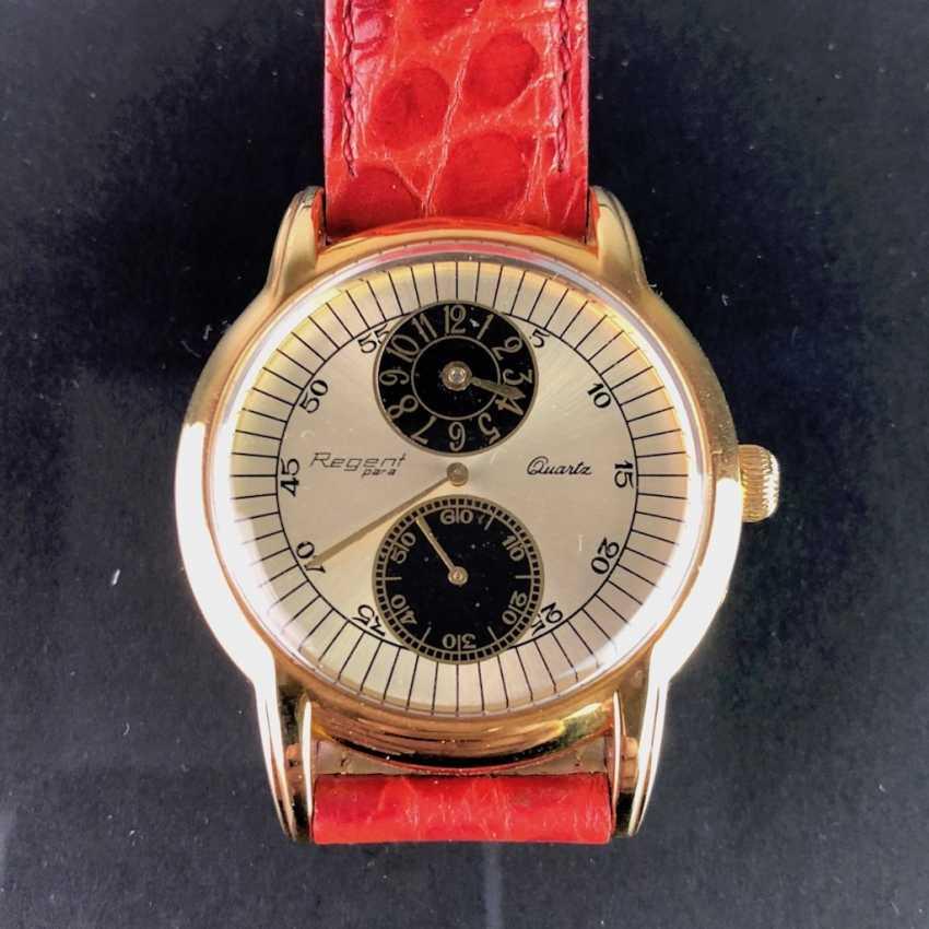 """Мужские наручные часы: """"РЕГЕНТ Para"""". Сильный кожаный браслет позолоченный. Непоношенный из часовщиков наследстве. Совершенно. - фото 1"""