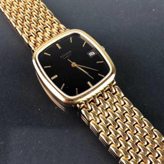 "Armbanduhr: ""PULSAR"". Stark vergoldet. Mineralglas. Ungetragen aus Uhrmachernachlaß. Tadellos. - Foto 1"