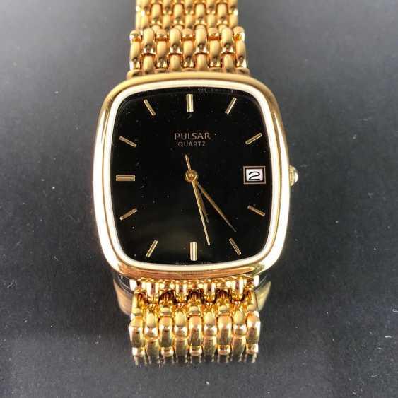 "Armbanduhr: ""PULSAR"". Stark vergoldet. Mineralglas. Ungetragen aus Uhrmachernachlaß. Tadellos. - Foto 2"