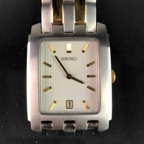 """Watch: """"SEIKO"""". Stainless steel formatted and bicolor. Mineral glass. Unworn, from a watchmaker's estate. Perfectly. - photo 3"""
