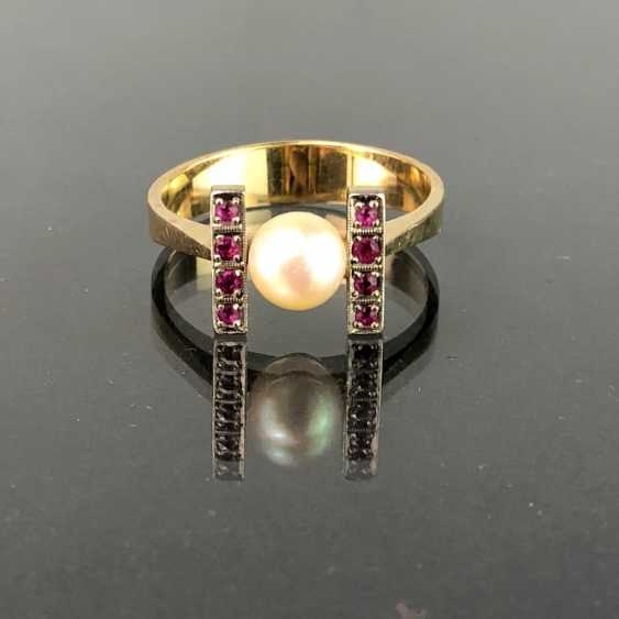 Ladies Ring: Yellow Gold / White Gold 585. Eight rubies and a pearl. High-Quality Production. - photo 1