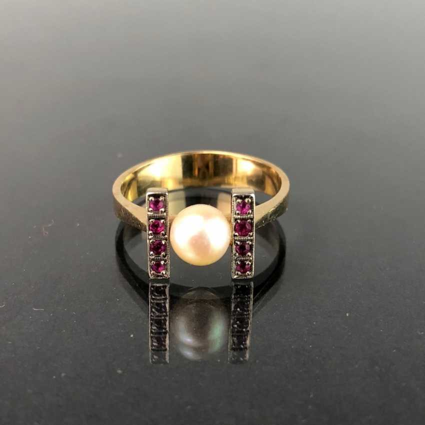 Ladies Ring: Yellow Gold / White Gold 585. Eight rubies and a pearl. High-Quality Production. - photo 2