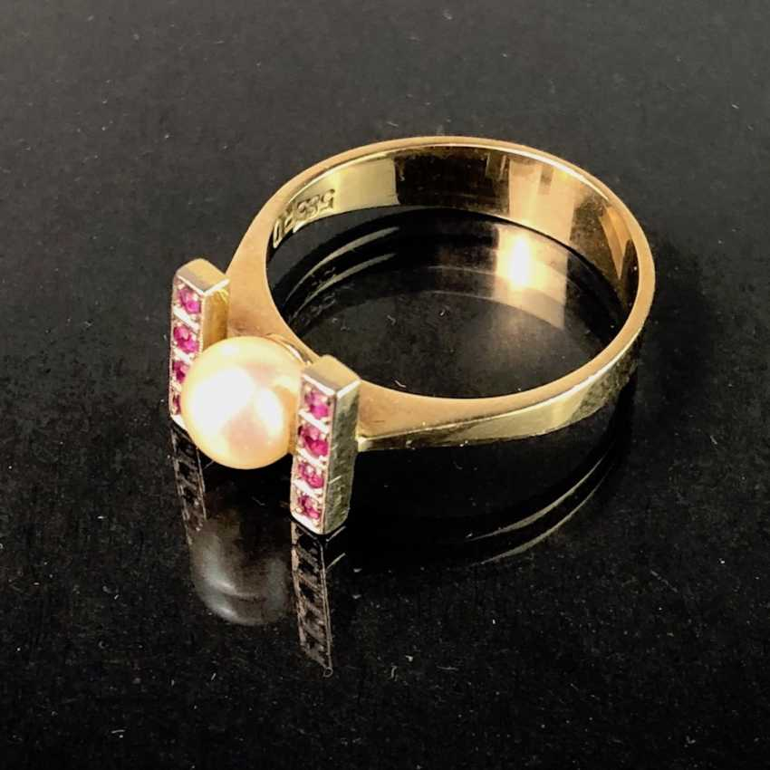 Ladies Ring: Yellow Gold / White Gold 585. Eight rubies and a pearl. High-Quality Production. - photo 3