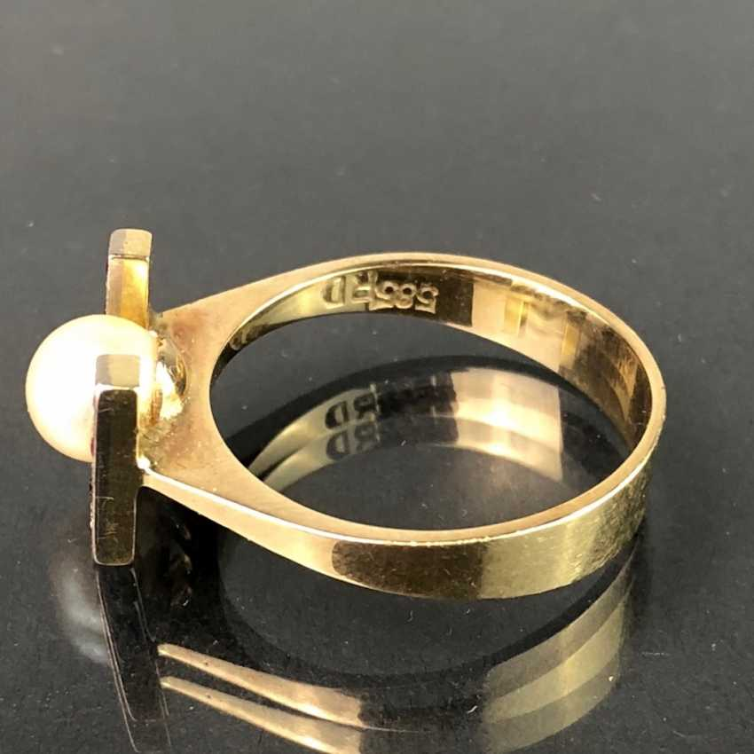 Ladies Ring: Yellow Gold / White Gold 585. Eight rubies and a pearl. High-Quality Production. - photo 4