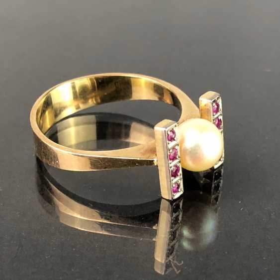 Ladies Ring: Yellow Gold / White Gold 585. Eight rubies and a pearl. High-Quality Production. - photo 6
