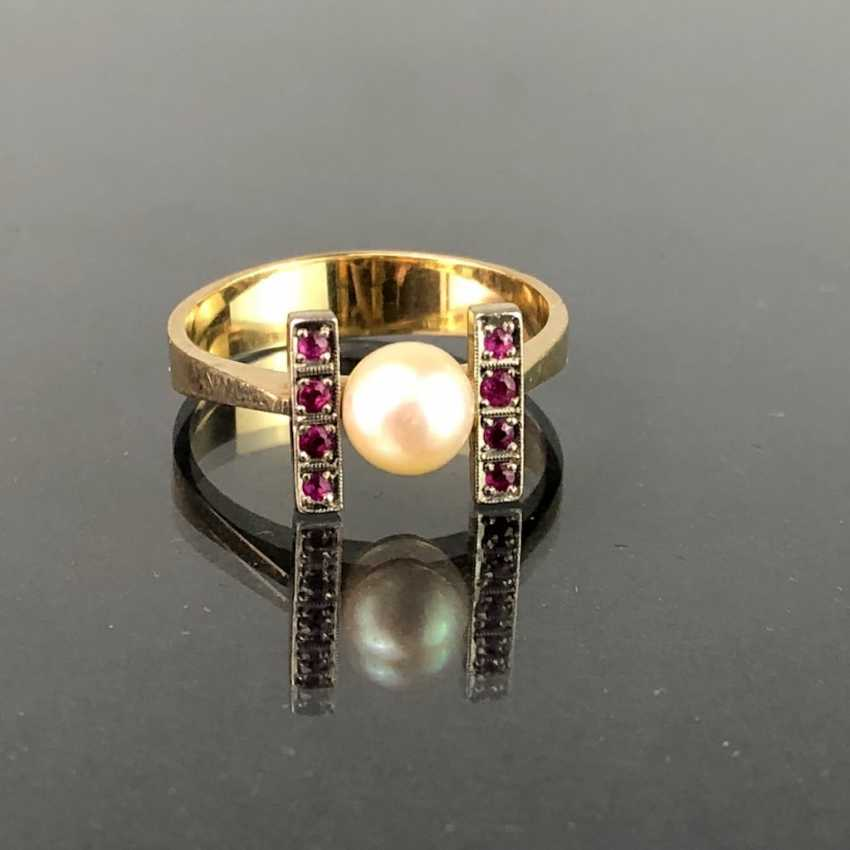 Ladies Ring: Yellow Gold / White Gold 585. Eight rubies and a pearl. High-Quality Production. - photo 7
