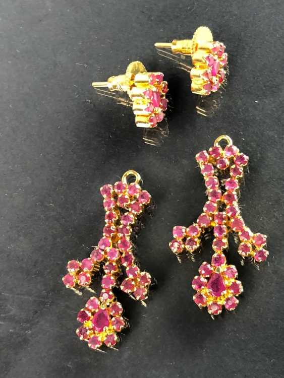 Exceptional necklace and earrings with rubies - photo 6