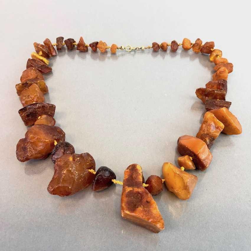 Ambre-Collier: ambre naturel de la Taille disposés, de style Art-Déco vers 1930, très agréable. - photo 2