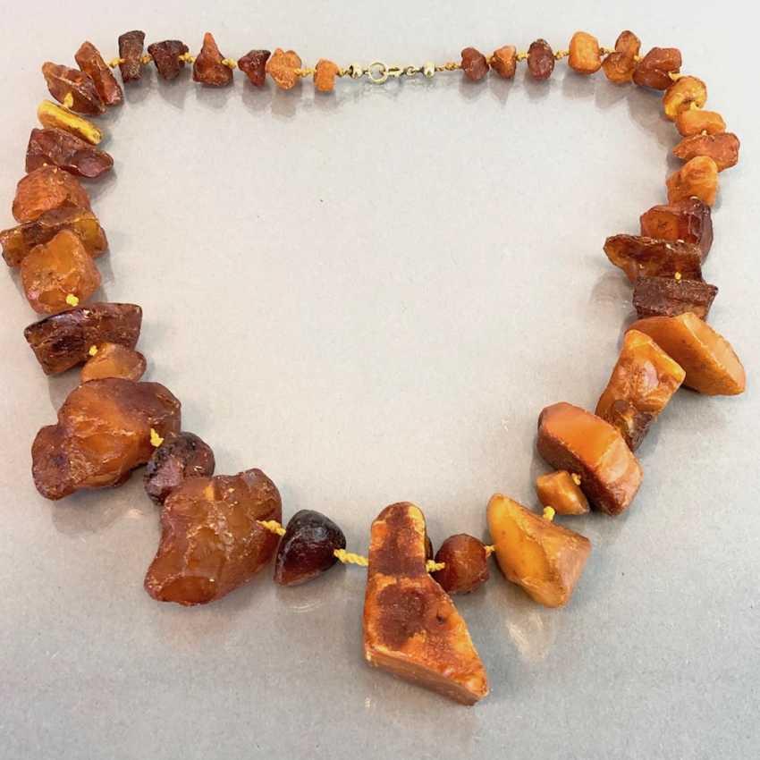 Ambre-Collier: ambre naturel de la Taille disposés, de style Art-Déco vers 1930, très agréable. - photo 3
