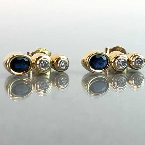 """Серьги: бриллиант и Safir. Желтое Золото / Белое Золото 585. Gemarkt """"WEMPE"""". Оригинальный чехол, очень красиво. - фото 1"""