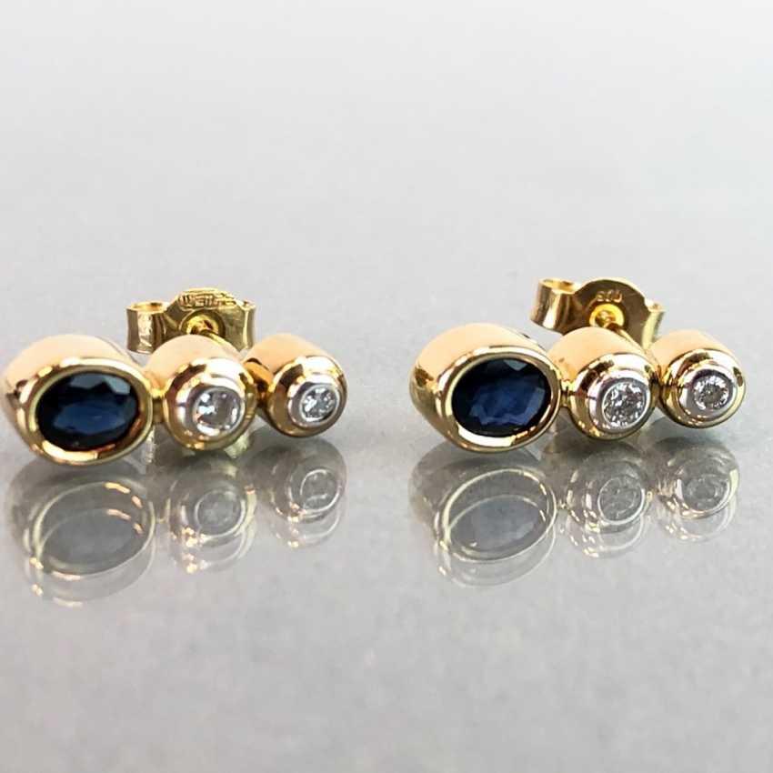 """Серьги: бриллиант и Safir. Желтое Золото / Белое Золото 585. Gemarkt """"WEMPE"""". Оригинальный чехол, очень красиво. - фото 2"""