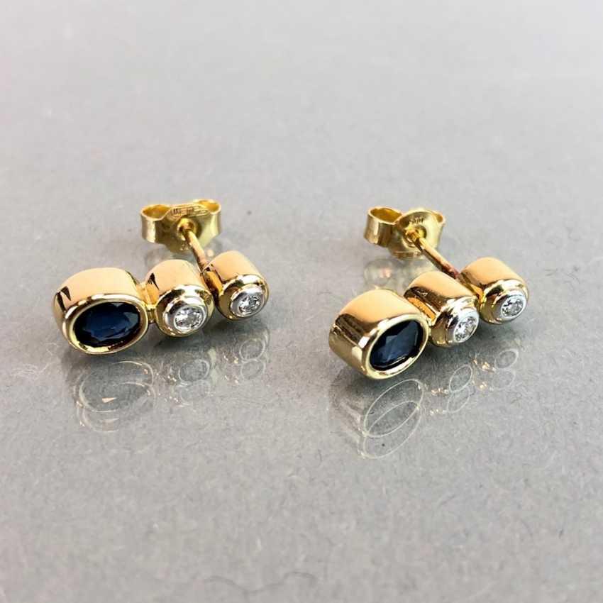 """Серьги: бриллиант и Safir. Желтое Золото / Белое Золото 585. Gemarkt """"WEMPE"""". Оригинальный чехол, очень красиво. - фото 5"""