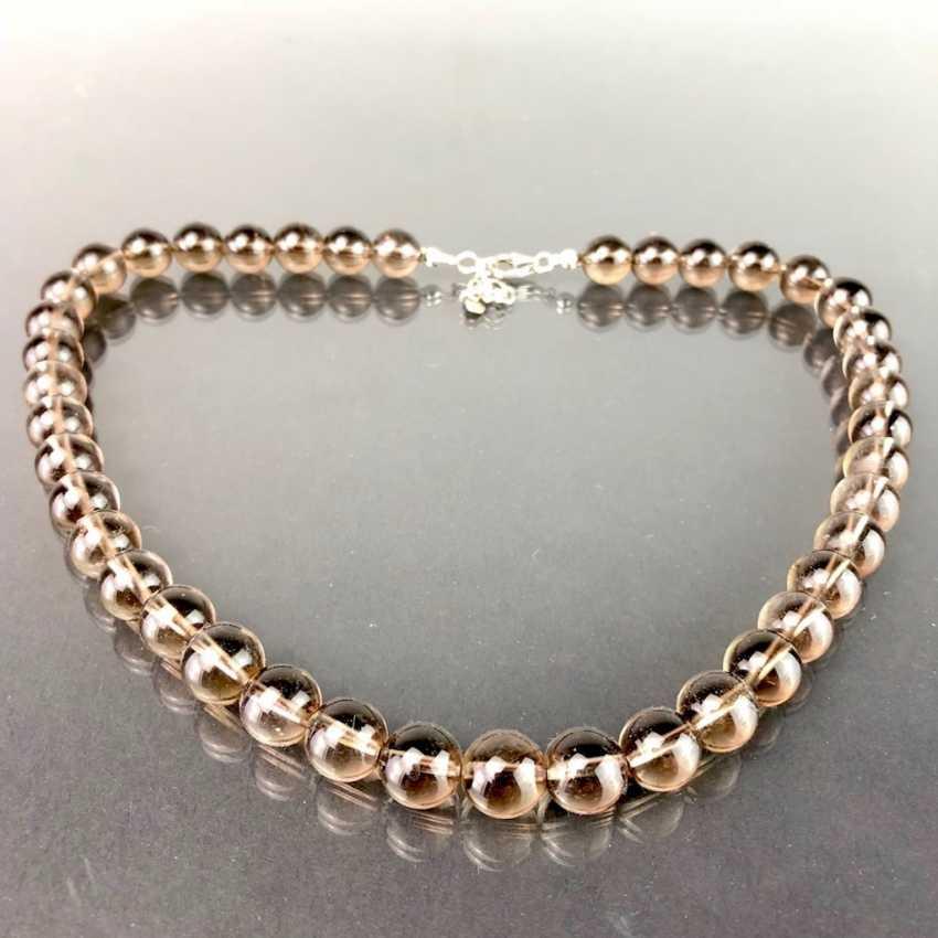 Timeless necklace made of smoke quartz. Silver 925. - photo 1