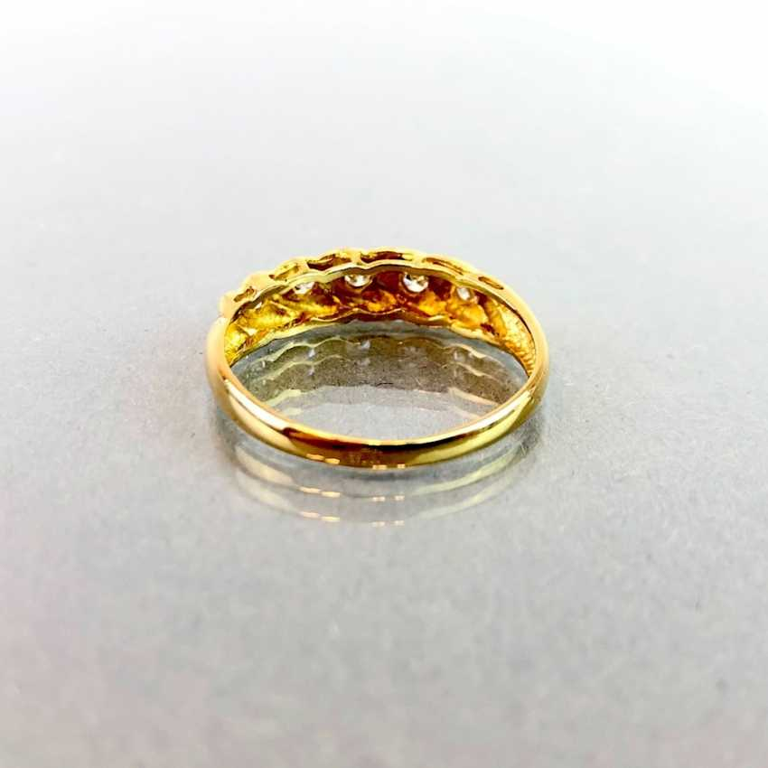 Lady's ring with five diamonds. Yellow gold 750. - photo 2