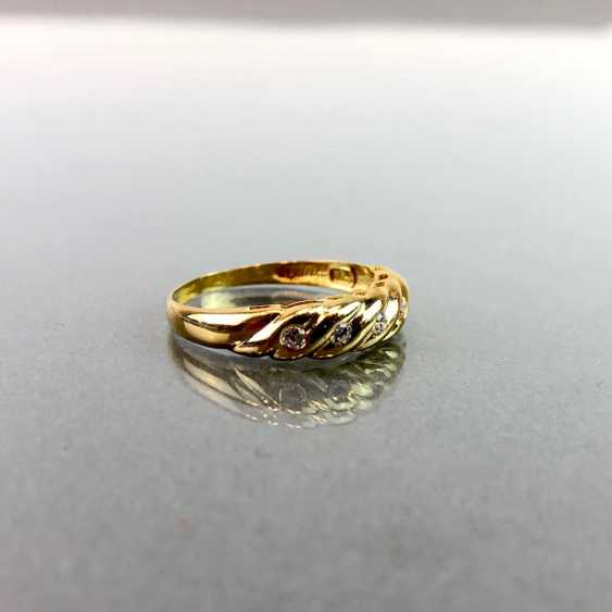 Lady's ring with five diamonds. Yellow gold 750. - photo 4