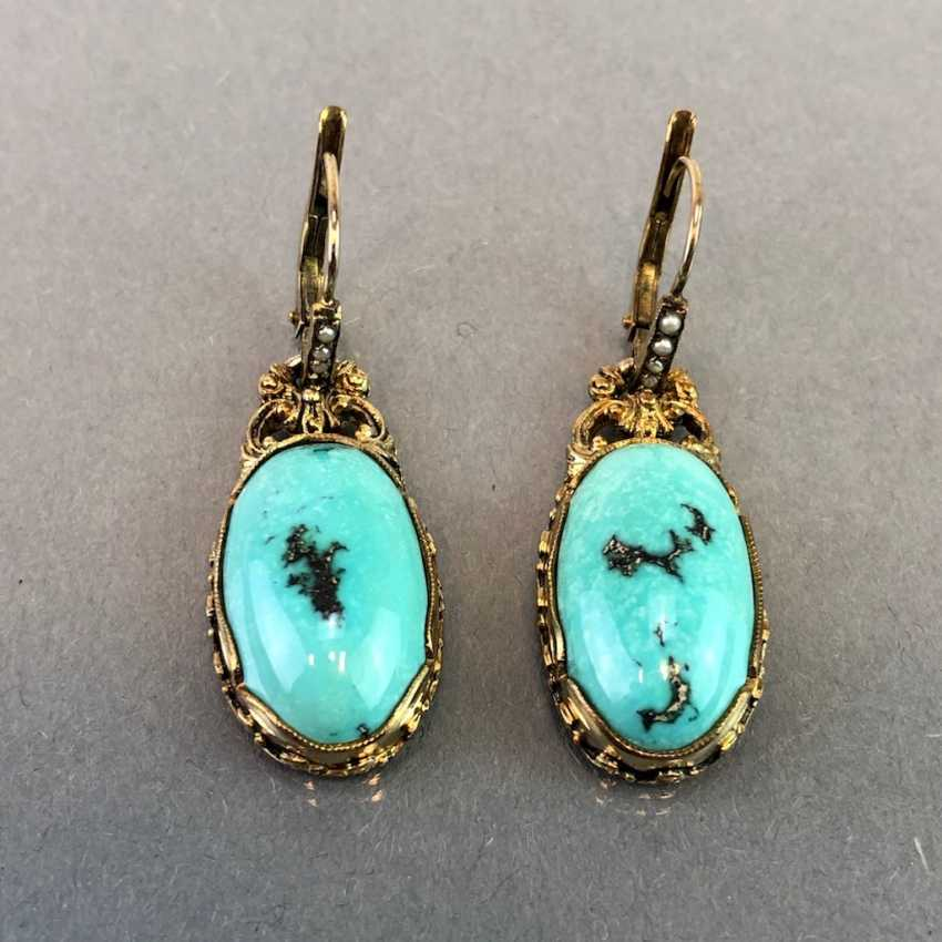 Historicism Earrings: Turquoise. Yellow gold 333. - photo 1