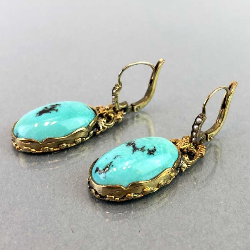 Historicism Earrings: Turquoise. Yellow gold 333. - photo 2