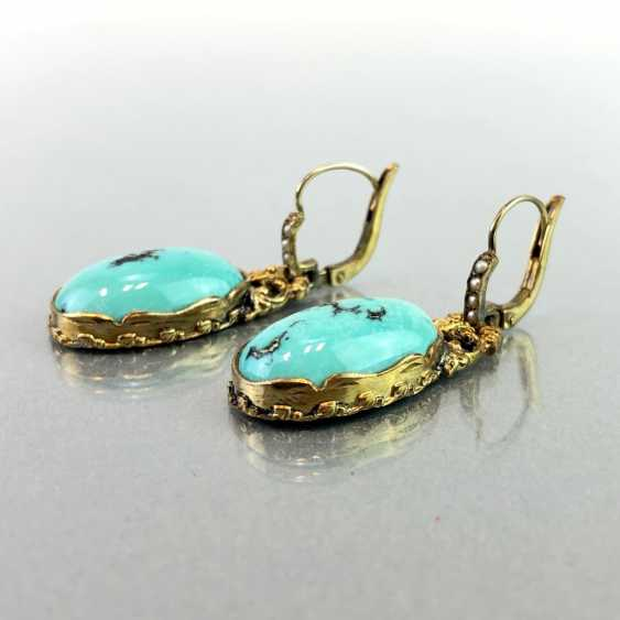 Historicism Earrings: Turquoise. Yellow gold 333. - photo 3