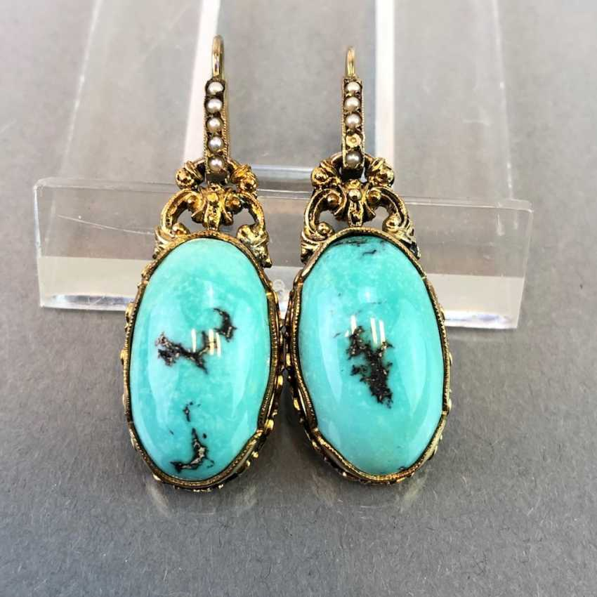 Historicism Earrings: Turquoise. Yellow gold 333. - photo 4
