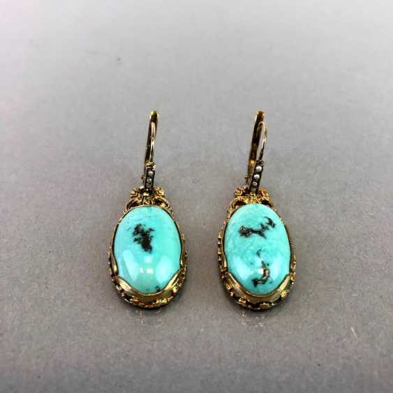 Historicism Earrings: Turquoise. Yellow gold 333. - photo 5