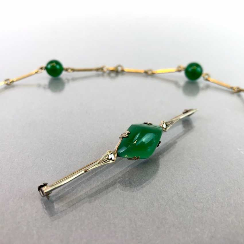 Jade-jewellery-Set bar brooch with Jade and vintage solid. Necklace with any balls. Art-Deco, 1930. - photo 2