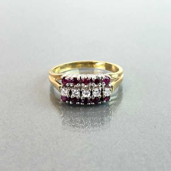 Elegant ladies ring with ruby and diamonds. Yellow Gold / White Gold 585. - photo 1