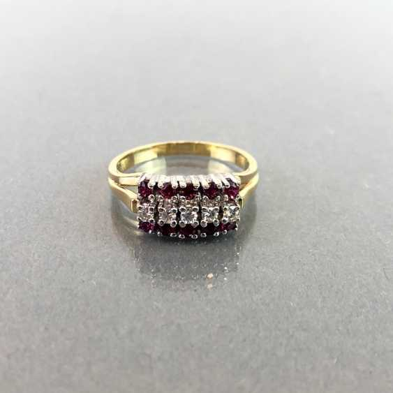 Elegant ladies ring with ruby and diamonds. Yellow Gold / White Gold 585. - photo 2