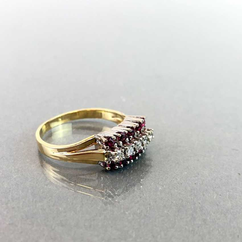 Elegant ladies ring with ruby and diamonds. Yellow Gold / White Gold 585. - photo 3
