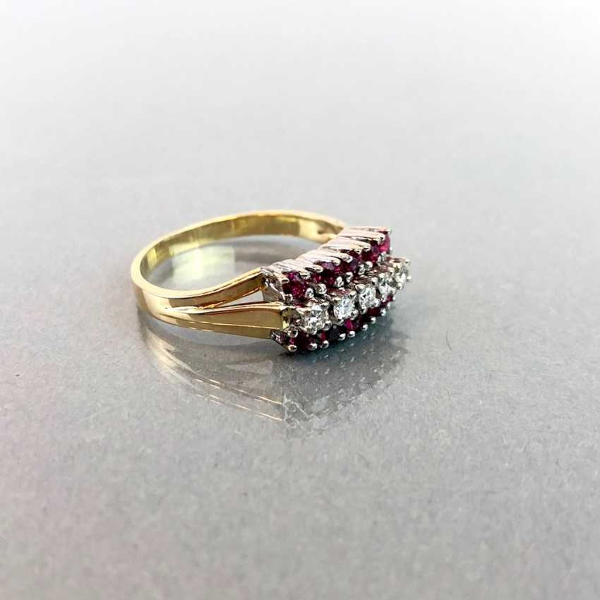Elegant ladies ring with ruby and diamonds. Yellow Gold / White Gold 585. - photo 4